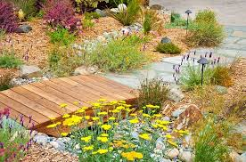 outdoors rock garden with wooden garden bridge over watterfall