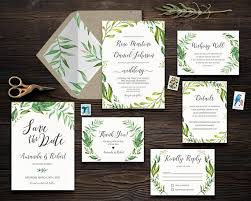 green wedding invitations wedding invitation suite green wedding invitation set greenery