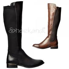 boots uk wide calf shoekandi wide calf stretch knee high flat boot
