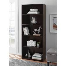 Room And Board Bookcase Mainstays 5 Shelf Standard Wood Bookcase Expresso Walmart Com