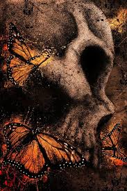 skull with butterflies by xithlion on deviantart