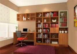 brown bookcase with purple carpet in study room 3d house