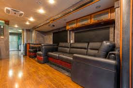 safari rv transformed into a mobile talent dressing and lounge rv