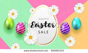 easter eggs sale happy easter background template beautiful camomiles stock vector