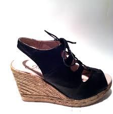 gaimo black parisian lace up wedge sandal espadrille www