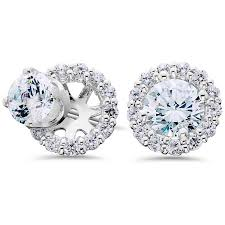 white gold diamond earrings women s 3 4ct diamond studs and halo earring jackets solid 14k