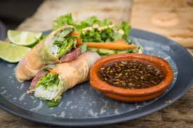 vegan sriracha mayo steak spring rolls with sriracha mayo and soy lime dipping sauce