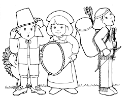 free printable coloring pilgrim and indian coloring pages