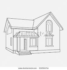 house drawings house building sketch prospect building drawings stock vector