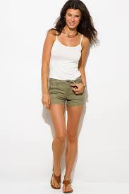 shop olive green cotton military zipper pocket mid rise shorts