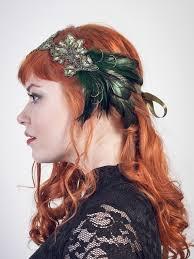 feather headband emerald peacock green flapper feather headband accessories