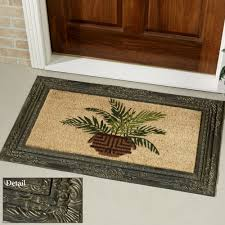 decorating traditional exterior home design with beige coir