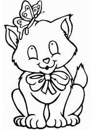 cute cat and butterfly coloring pages free coloring pages