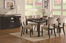 coaster libby 7 piece floating top table u0026 upholstered side chairs
