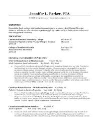 pta resume examples physical therapy resume example pretty