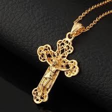 gold plated cross necklace images U7 vintage antique jesus piece pendant necklace women mens jewelry jpg