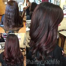 partial red highlights on dark brown hair deep red balayage highlights custom color hair by rachel fife