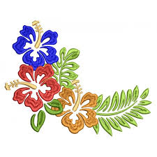 summer hibiscus filled machine embroidery design digitized pattern