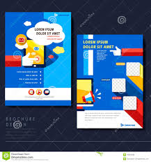 social media brochure template modern flat design flyer template for social media concept stock