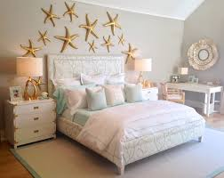 under the sea themed bedroom with a coral print upholstered bed