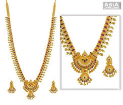 gold necklace with stones images Ruby pearl emerald studded necklace set ajns52746 22k gold jpg