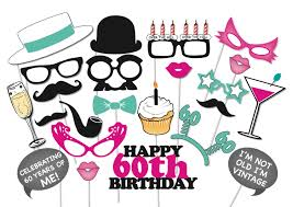 60th birthday photobooth party props set 26 piece printable