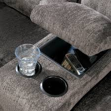 End Table With Charging Station by Reclining Sectional With Left Side Loveseat Cup Holders And