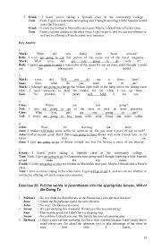 verb tense exercises answer 080912