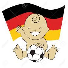 Baby Flag Baby Soccer Boy With German Flag Background Cartoon Illustration