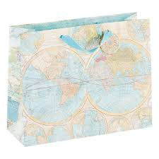 large world map gift bag the container store