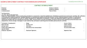 warehouse supervisor employment contract