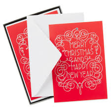 merry and happy new year cards box of 12