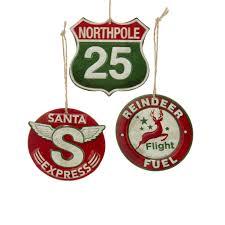 retro pole station sign ornaments santa express reindeer