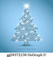 vector stock vector tree from digital circuit stock
