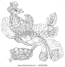 stylized tropical bird paradisehand drawn vector stock vector