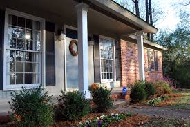 interior cute picture of front porch column decoration using