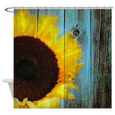 Country Themed Shower Curtains Rustic Sunflower Teal Wood Shower Curtain Barn Wood Flower