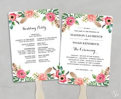 fan program printable wedding program fan template fan wedding programs