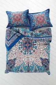 and bow dandeli medallion blue and coral duvet cover