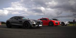 nardo grey r8 2016 audi r8 v10 plus thrashes amg gt s and c63 s in drag race