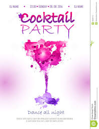 cocktail watercolor disco poster stock vector image 43934712