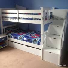 White Bunk Bed With Stairs Staircase Bunk Bed White Waxed Built In Storage Steps Bedtime