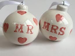 mr and mrs wedding gift handmade ceramic baubles christmas