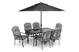 Metal Garden Table And Chairs Quality Black Grey Padded 6 Seater 8 Piece Metal Garden Dining Set