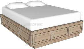 Bed Frame Plans With Drawers Size Platform Bed Frame With Storage Drawers Sawdust