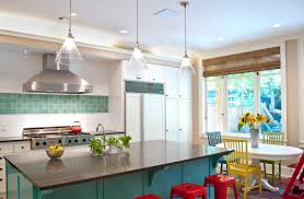 fun bright and retro kitchen love the pop of colours with pictures