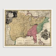 colonial america map colonial america antique map print c1763 blue monocle