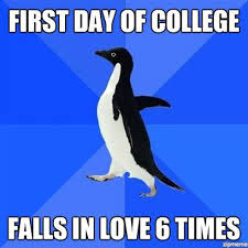 First Day Of College Meme - socially awkward penguins first day of college weknowmemes