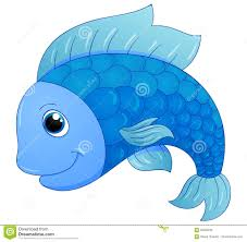 cute blue fish stock vector image 59528938