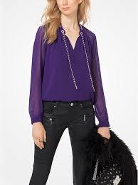 michael kors blouses chain link chiffon blouse michael kors